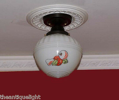 181 Vintage 30's 40s Ceiling Light Lamp Fixture Glass kitchen Re-Wired 5