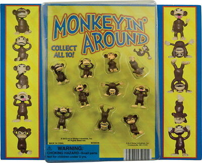 25 TINY FUNNY PLASTIC MONKEY FIGURES CUPCAKE TOPPERS SMALL PARTY MONKEYIN AROUND
