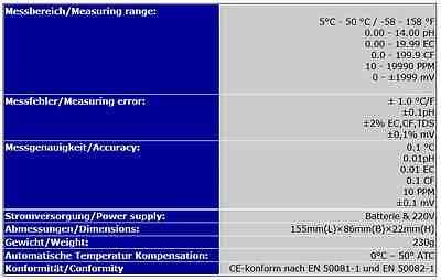 7-In-1 Multi Meter Tester Ec Cf Tds Ph °C °F Redox  3 Lcd Displays P15 5