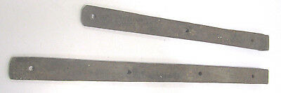 Vtg Pair Heavy Handmade Cast Wrought Iron Barn Door Strap Hinges Old Hardware 6