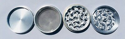 4 Piece Magnetic 1.5 Inch Silver Tobacco Spice Metal Grinder w/ Sharp Teeth