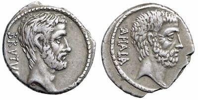 """Q Servilius Caepio M Junius Brutus AR Denarius """"Busts, Ahala"""" Rome 54BC Good VF 3"""