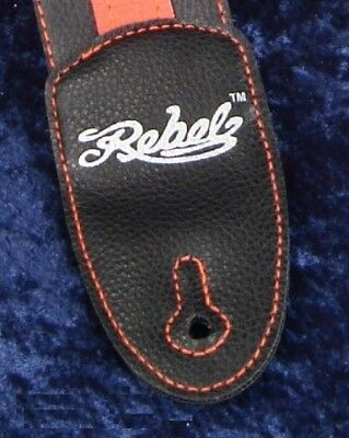 REBEL FANCY FAUX LEATHER GUITAR STRAP GTO SERIES LIGHT BLUE BROWN