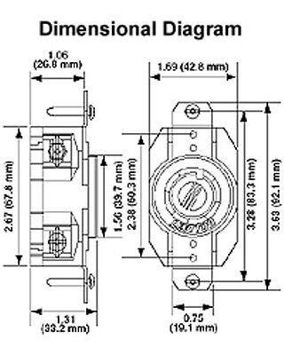 panel mount receptacle 3 phase 20 amp twist lock 3p 4 w