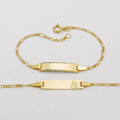Baby Taufe Ident Stegpanzer Armband Echt Gold 333 Name und Datum Gravur 14 12 cm