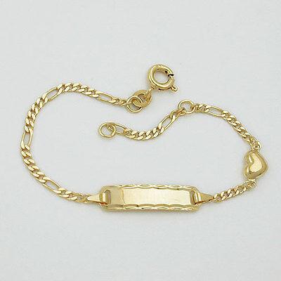 Kinder Baby Taufe Herz Armband Echt Gold 333 8 Kt Gelbgold