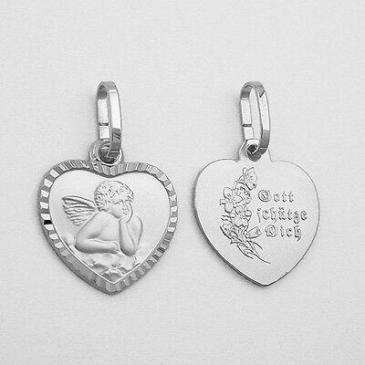 Weißgold 333 Gott schütze Dich Baby Taufe Kinder Herz Schutzengel Silber Kette
