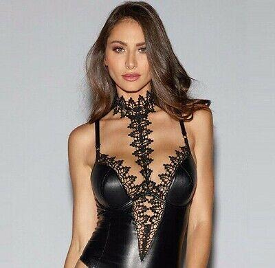 sexy Reizwäsche String mini Kleid Lederlook Spitze Chocker Party BDSM Bondage 3