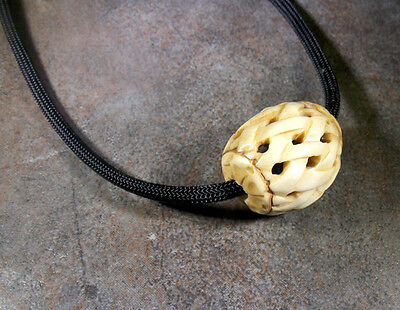 Naked and Afraid TV Show  Carved Bone Bead, Para Cord Reproduction Necklace 2