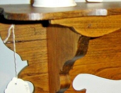 Antique Chestnut Clock Shelf with sawtooth design on the front. 8166 7