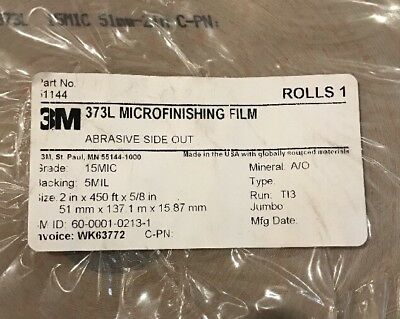 """NEW 3M 373L Microfinishing Film Roll 2"""" x 450ft x 5/8 in Abrasive Side OUT 15MIC 2"""