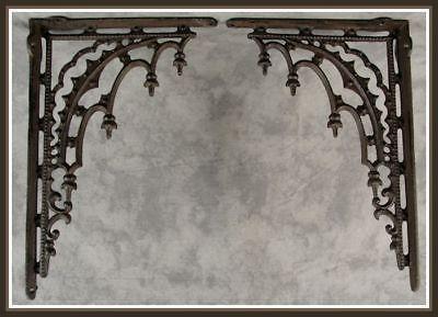2 ARCHITECTURAL GOTHIC RENAISSANCE Cast Iron SHELF WALL CORNER BRACKETS Brown 4