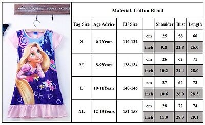 Kids Girls Princess Cartoon Nightie Nightdress Pyjama Sleepwear Nightwear Summer 7