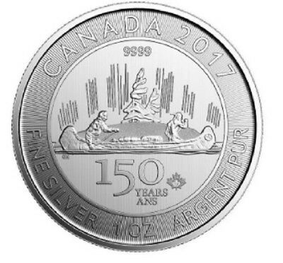 FREE SHIPPING 1 oz Silver Maple Canada 150 Years 2017 Voyageur 9999 RCM Coin $5 4