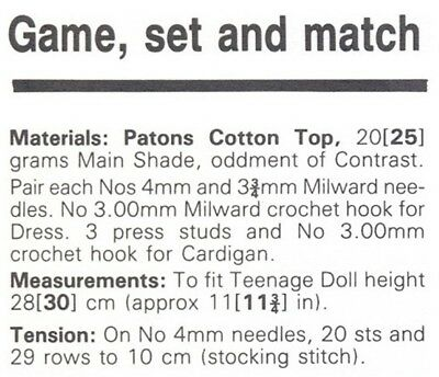 Sindy or Barbie Dolls' 4 Ply Ballet and DK Tennis Outfit Knitting Pattern 10035 3