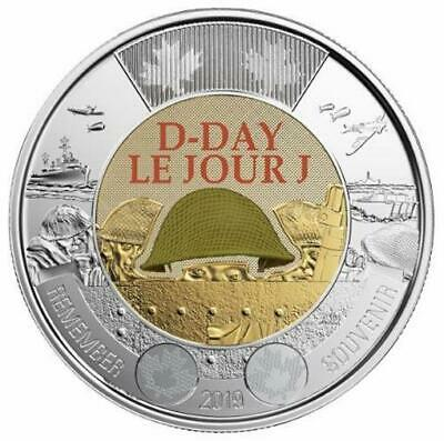 2019 CANADA 🥇 D-Day $2 Dollar Coin - Colored + $1 EQUALITY $1; BU from Roll 🏆 2
