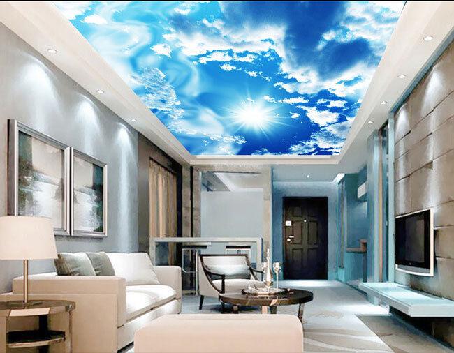 SUNSHINE CLOUDS BLUE Sky Ceiling Design 3D Wall Mural Wallpaper Decal Art Prints - £41.86 | PicClick UK