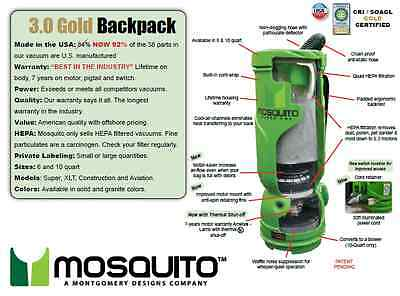 Green Mosquito Super Hepa 3.0 Gold Backpack Vacuum p//n 10-1011 Green