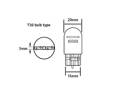 2X T20 12V 21W 5W TAIL Brake Signal Halogen Light Dual Filament bulb White Wedge 3
