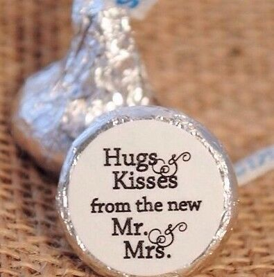 108 Hugs & Kisses from the new Mr. & Mrs. Hershey Kiss Wedding Stickers Favors 3