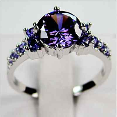 Junxin White Gold Round Cut Purple Amethyst Gem Wedding Band Ring Gift Size 5-10 2