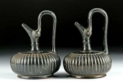 Matched Pair of Greek Apulian Pottery Glazed Prochoi Lot 28