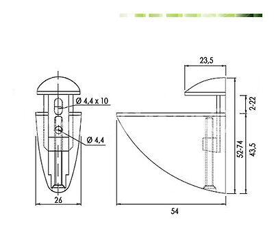 4 Regalhalter halbrund verchromt für 3-28 Glashalter Glasbodenhalter Plexiglas