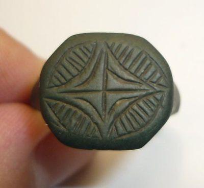 Antique Ottoman Bronze Ring Green Patina 5