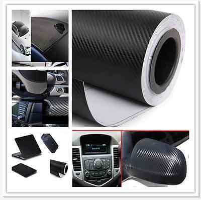"12""x50"" 3D Black Carbon Fiber Vinyl Car Wrap Sheet Roll Film Sticker Decal Sales 2"