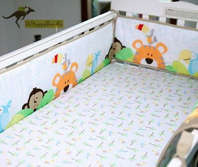 New Baby Boys 9 Pieces Monkey Lion Theme Cotton Nursery Bedding Crib Cot Sets
