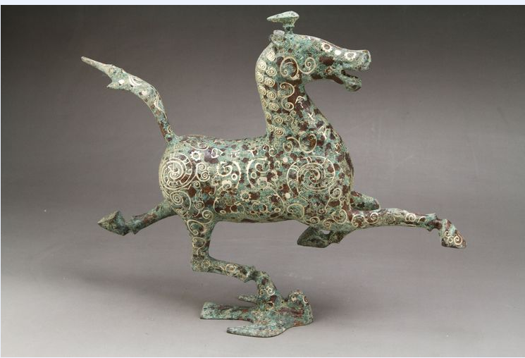 Ancient Chinese bronze liu yingao head horse, the horse step flying yan, 4