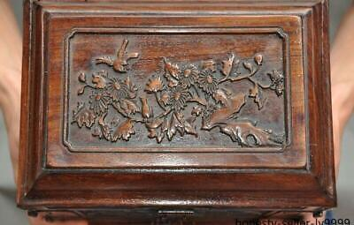 """10"""" Old china Boxwood wood carving flower bird Magpie Storage Box Jewelry boxes 8"""