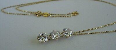 14K YELLOW GOLD LADIES 3 DROP CHAIN NECKLACE PENDANT W/ 3 ct DIAMOND 4