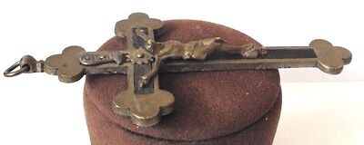 OUTSTANDING VINTAGE BRASS CROSS WITH CRUCIFIXION,EARLY 20th. Century !!! # 462 5