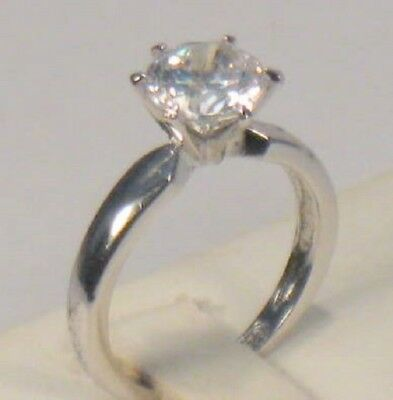 2 Ct Round Diamond Solitaire Engagement Ring White Gold Platinum Finish 5