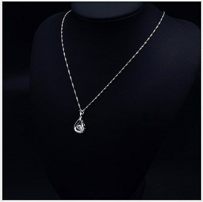 Silver Halo Dancing Cubic Zirconia Endless Ring Pendant Necklace Box A8
