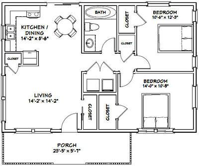 36X24 HOUSE -- 2 Bedroom 1 Bath -- 864 sq ft -- PDF Floor Plan -- Model 2