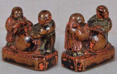Early 19c Negoro lacquer netsuke CHINESE SCHOLARS 3