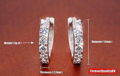 Charm Crystal 925 Sterling Silver Stud Hoop Earrings Fashion Women UK Jewelry 2
