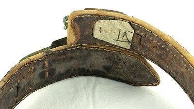 Amazing Silver & Gold Leather Ottoman Folk Handmade Belt Buckle Antique VTG 2