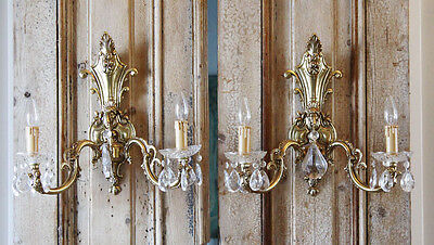Antique Incredible Pair Brass 2 Arm Wall Sconces Figural Gorgeous 3