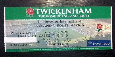 England v South Africa 2000 Rugby Programme and Ticket 2