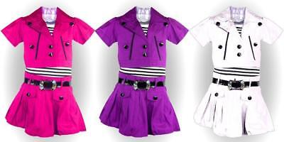 New Girls Belted Party Dress with Jacket Outfit Set Age 2 4 6 8 10 years 2