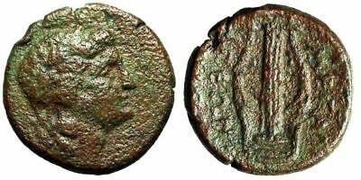 """Megaris, Megara AE Tetrachalkon """"Apollo & Kithara"""" Dionysios Magistrate Rare 3"""