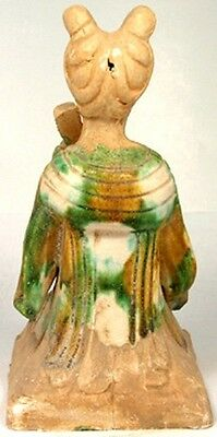 800AD Ancient Medieval Tang China Glazed Sancai Ceramic Female String Musician 2