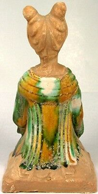 800AD Ancient Medieval Tang China Glazed Sancai Ceramic Female Woodwind Musician 2