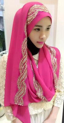 Muslim Women Hijab Rhinestone Long Scarf Islamic Shawls Head Wrap Scarves Shayla 11