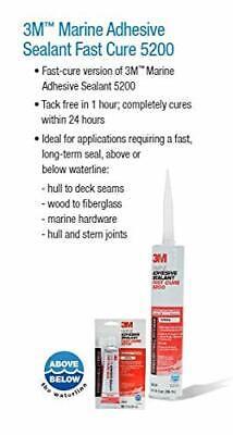 3M NEW MARINE Adhesive Sealant 5200 Fast Cure White, 06535,1 oz Tube