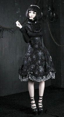 Top haut gothique lolita victorien steampunk jabot camée broderies Punkrave Noir 2