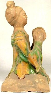Tang China Female Cymbal Musician Sancai Glazed Ceramic Ancient Medieval 800AD 3